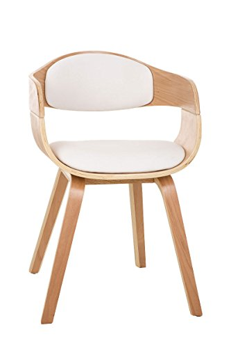 CLP moderner Besucher-Stuhl KINGSTON mit Armlehne, gut gepolsterter Sitzfläche, Holzgestell weiß