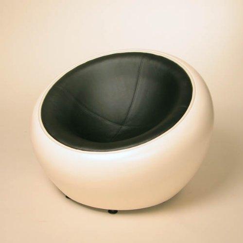 DESIGN LOUNGE BALL SCHALEN SESSEL retro möbel stuhl C12 creme-schwarz