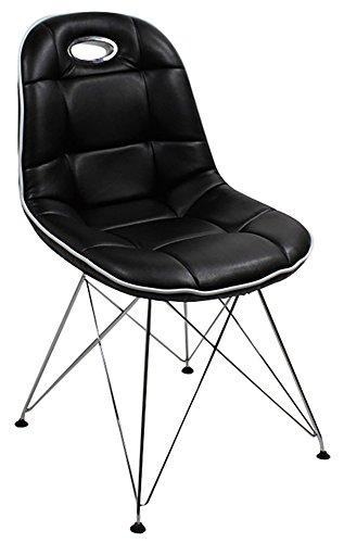 Designer Schalenstuhl mit Trapezgittergestell, 2-er Set, ergonomische Sitzschale, schwarz mit weißem Keder, B44 x T42 x H46 cm, in weiteren Farben erhätlich