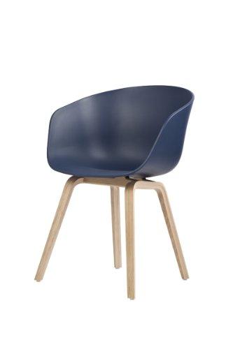 HAY Stuhl About a Chair AAC 22 - blau, Beine Eiche, Schale Polypropylen, Esszimmerstuhl - Küchenstuhl - Speisezimmerstuhl