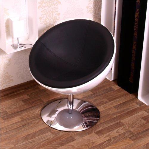 RETRO SCHALEN SESSEL 70er design stuhl lounge möbel C13 weiss-schwarz