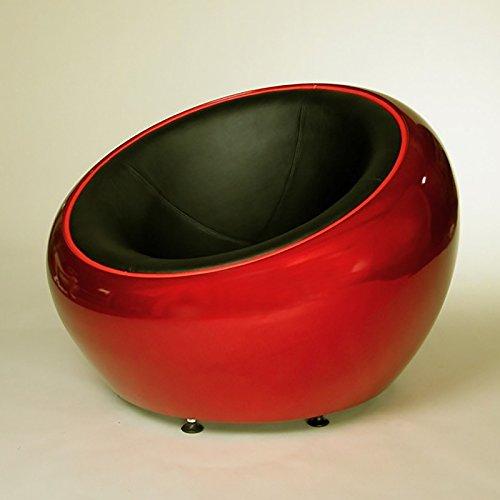 RIESIGER DESIGN LOUNGE BALL SCHALEN SESSEL von XTRADEFACTORY retro möbel stuhl C12 rot-schwarz