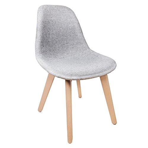 Schalenstuhl Copenhagen mit Stoff -bezug Schalensessel Design Designerstuhl Grau Holz Stuhl Designstuhl