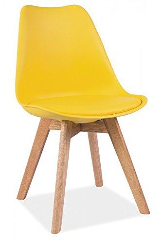 Stuhl 'Kris' Schalenstuhl Gelb Eiche