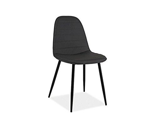 Stuhl teo b schalenstuhl kunstleder grau schwarz metall retro stuhl - Stuhl schwarz metall ...