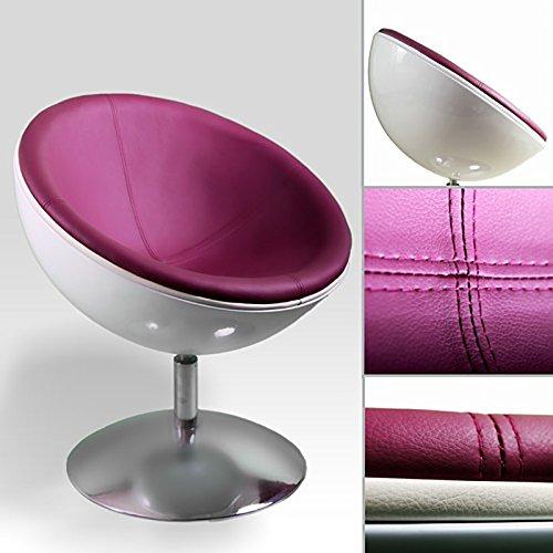 XTRADEFACTORY C13 Schalensessel / Lounge-Sessel im Retro-Stil, Weiß / Pflaume