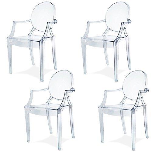 damiware spirit 4er set design stuhl mit armlehnen transparent wohnzimmerstuhl esszimmerstuhl. Black Bedroom Furniture Sets. Home Design Ideas