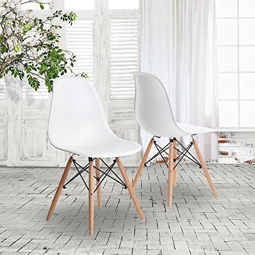 coavas esszimmerstuhl eames stuhl st hle set aus 4 esszimmerstuhl mit wei retro stuhl. Black Bedroom Furniture Sets. Home Design Ideas