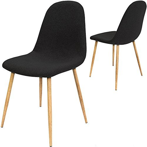 4x design stuhl mit stoffbezug schwarz esszimmerst hle st hle designerstuhl retro stuhl. Black Bedroom Furniture Sets. Home Design Ideas