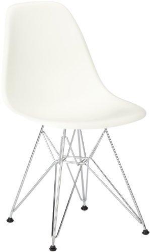 Vitra 440022000104 Stuhl DSR Eames Plastic Sidechair Gestell Verchromt, weiß