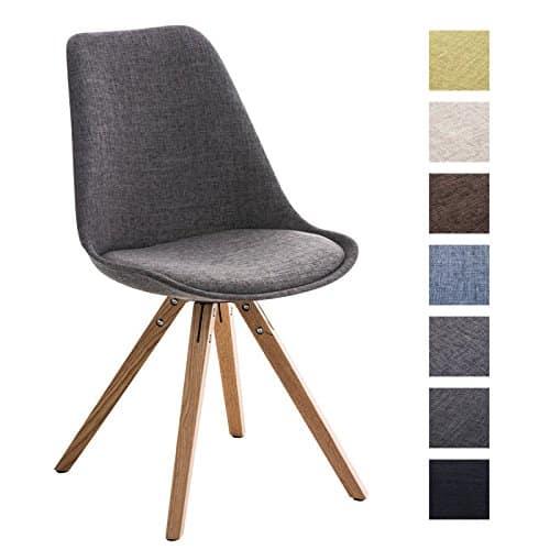 CLP Design Retro Stuhl PEGLEG SQUARE, Holzgestell natura, Stoffsitz, Schalenstuhl hellgrau