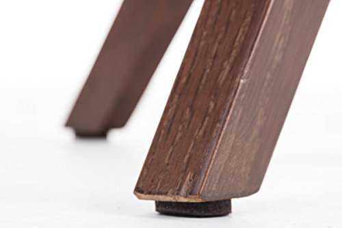CLP Design Retro Stuhl PEGLEG SQUARE, Holz-Gestell walnuss, Stoffsitz hellgrau
