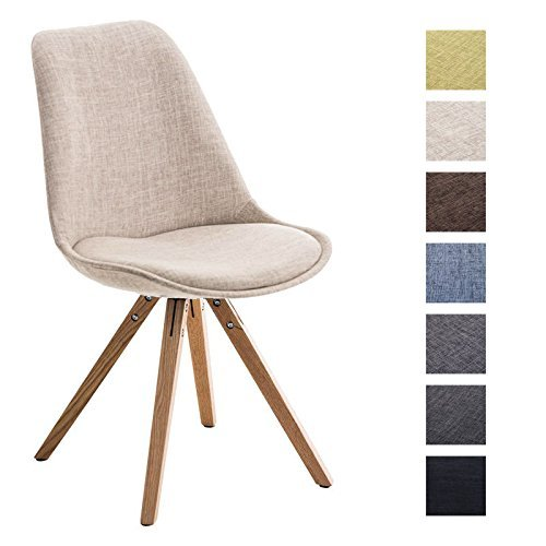 Clp design retro stuhl pegleg square holzgestell natura stoffsitz schalenstuhl creme retro - Schalenstuhl stoff ...