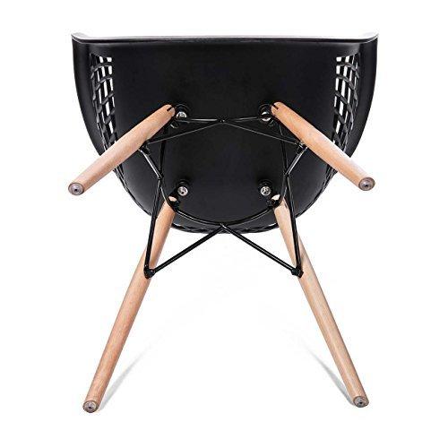 Makika Retro Stuhl Design Stuhl Esszimmerstühle Bürostuhl Wohnzimmerstühle Lounge Küchenstuhl Sitzgruppe 4er Set aus Kunststoff mit Rückenlehne SARA in Schwarz