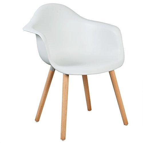 WOLTU® BH37ws-2 Esszimmerstühle 2er Set Esszimmerstuhl mit Lehne Design Stuhl Küchenstuhl Holz Weiß