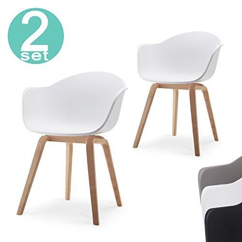 Romeo Wohnzimmerstuhl Esszimmerstuhl 2er-set Weiß Polypropylen und Buchenholz retro design Stuhl für Büro Lounge Küche Wohnzimmergrey (Weiß)