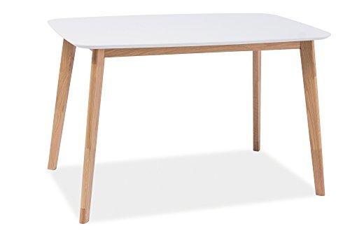 esstisch esszimmertisch holztisch echtholztisch milo i in wei eiche natur 120 x 75 cm. Black Bedroom Furniture Sets. Home Design Ideas