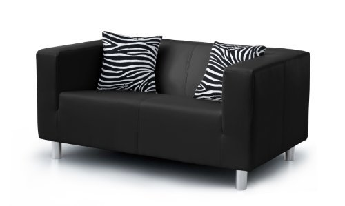 b famous 3 sitzer sofa cube 183 x 85 cm pu schwarz retro stuhl. Black Bedroom Furniture Sets. Home Design Ideas