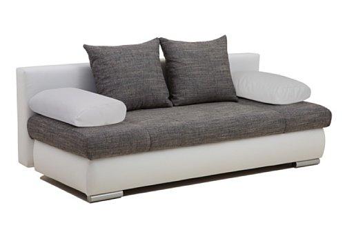 b famous schlafsofa chicago fk kunstleder 200 x 95 cm wei mit strukturstoff grau retro stuhl. Black Bedroom Furniture Sets. Home Design Ideas