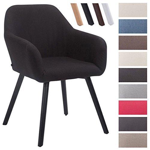 CLP Besucher-Stuhl ACHAT V2 mit Armlehne, max. Belastbarkeit 150 kg, Holz-Gestell, Stoff-Bezug, Sitzfläche gepolstert, mit Bodenschonern Schwarz, Gestellfarbe: Schwarz