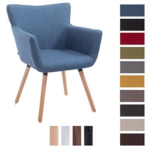 CLP Besucher-Stuhl ANTWERPEN, max. Belastbarkeit 160 kg, Stoff-Bezug, Holz-Gestell aus Buche, Sitzfläche gepolstert, mit Armlehne, mit Bodenschonern