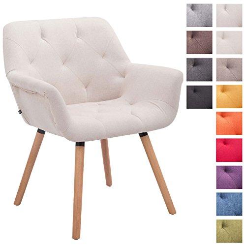 CLP Besucher-Stuhl CASSIDY, Stoff-Bezug, belastbar bis 150 kg, Retro-Stuhl mit Armlehne, sesselförmiger Sitz, gepolstert, Sitzhöhe 45 cm