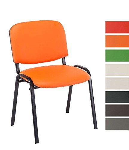 CLP Besucher-Stuhl stapelbar / Stapel-Stuhl KEN Kunstleder, preiswert, robust, bequem orange