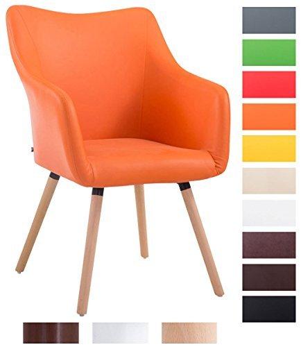 CLP Design Besucher-Stuhl MCCOY V2 mit Armlehne, max. Belastbarkeit 160 kg, Holz-Gestell, Kunstleder-Bezug, gepolstert orange, Gestellfarbe: natura