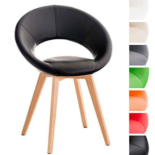clp design polsterstuhl timm kunstleder 4 beine holz gestell schwarz retro stuhl. Black Bedroom Furniture Sets. Home Design Ideas