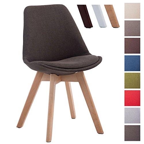 CLP Design Retro Stuhl BORNEO V2, Holz-Gestell, Stoff-Bezug