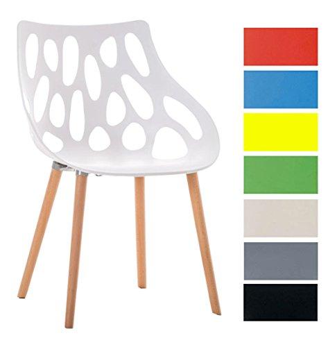 CLP Design Retro Stuhl HAILEY, Materialmix Kunststoff / Buchenholz, Sitzhöhe 44 cm