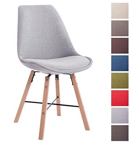 Clp design retro stuhl laffont sitz bezug stoff grau holzgestell farbe natura retro stuhl - Schalenstuhl stoff ...