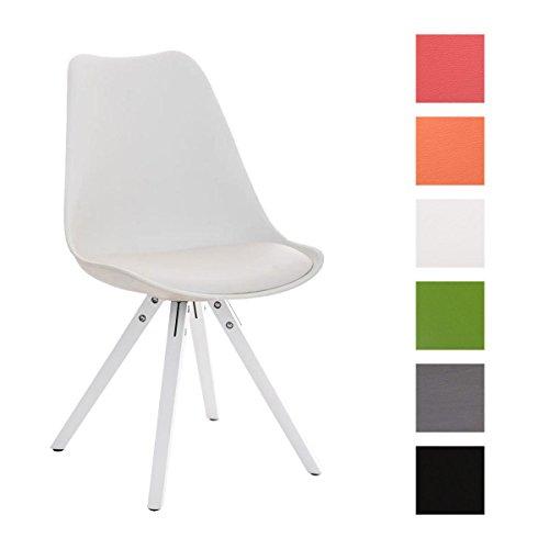 Clp design retro stuhl pegleg square mit holz gestell wei for Design stuhl holz leder