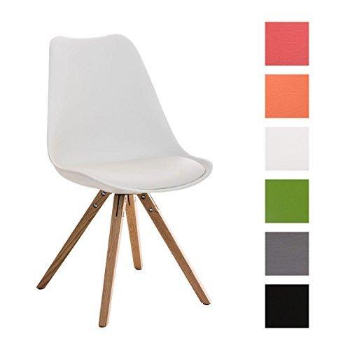 CLP Design Retro Stuhl PEGLEG SQUARE mit Holzgestell natura, Materialmix Kunststoff, Kunstleder, Holz