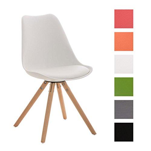 CLP Design Retro Stuhl PEGLEG, Schalenstuhl Sitzhöhe 46 cm, gepolstert, Sitz Kunststoff / Kunstleder