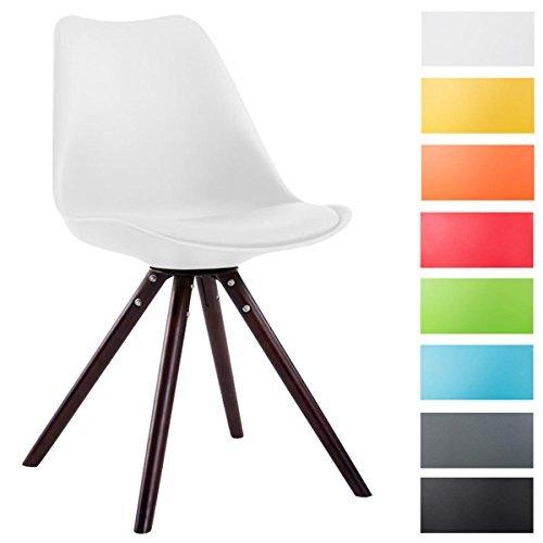 CLP Design Retro Stuhl TOULOUSE Holzgestell Cappuccino Rund, Kunststoff-Lehne, Kunstleder-Sitz gepolstert weiß