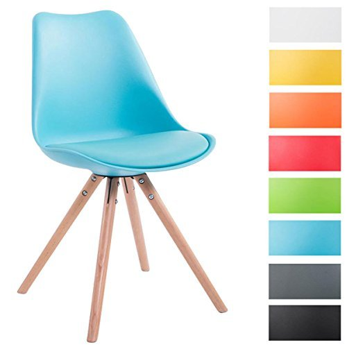 CLP Design Retro-Stuhl TOULOUSE Holzgestell Natura Rund, Kunststoff-Lehne, Kunstleder-Sitz gepolstert blau