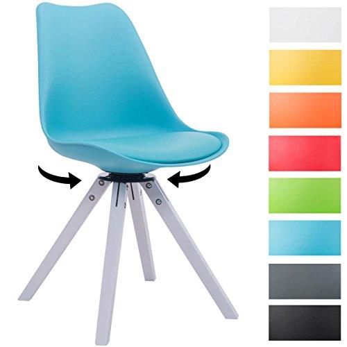 CLP Design Retro-Stuhl TROYES SQUARE, Kunststoff-Lehne, Kunstleder-Sitz gepolstert drehbar
