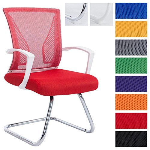 CLP Freischwinger Stuhl mit Armlehne BONNIE, Besucherstuhl, Metallgestell, Netzbezug, belastbar ca. 130 kg Gestell chrom, Bezug rot