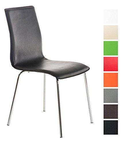 CLP Küchen-Stuhl / Besucherstuhl NICKI, 4 Beine, Kunstleder-Bezug pflegeleicht, Metall-Gestell in Chromoptik schwarz