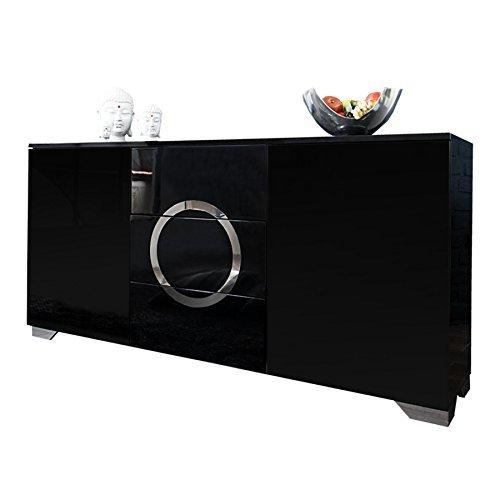 exklusives sideboard zen hochglanz schwarz 160cm mit. Black Bedroom Furniture Sets. Home Design Ideas