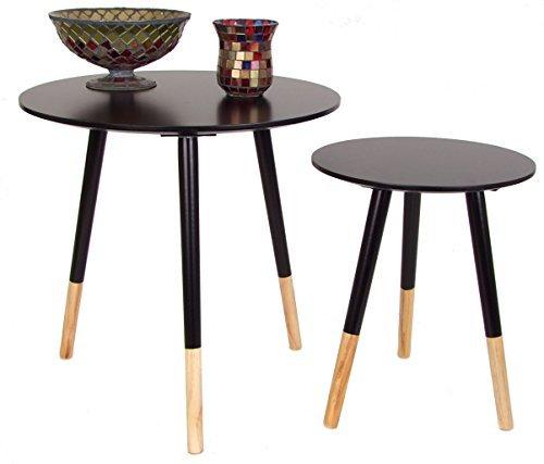 Holz beistelltisch retro in 2er set schwarz couchtisch for Couchtisch 2er set holz