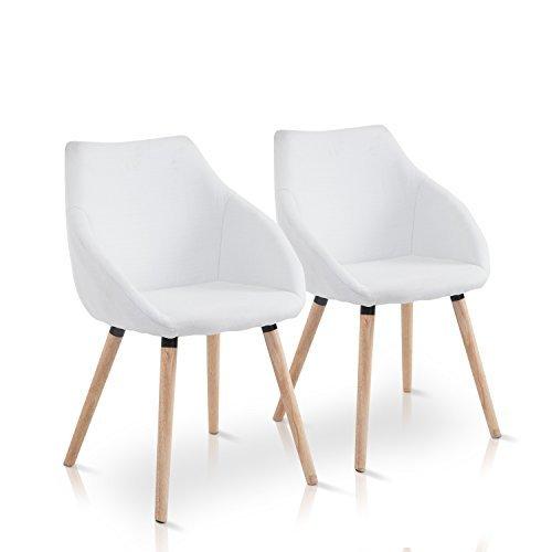 Homcomr 2 x esszimmerstuhl wohnzimmerstuhl stuhlgruppe for Küchenstuhl wei holz