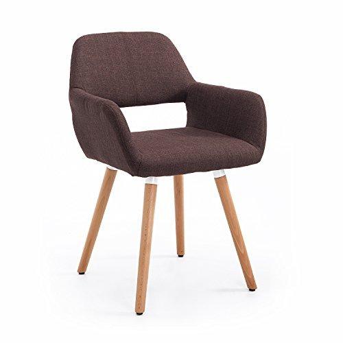 homcom esszimmerstuhl armsessel wohnzimmerstuhl k chenstuhl sessel stuhl leinen holz braun. Black Bedroom Furniture Sets. Home Design Ideas