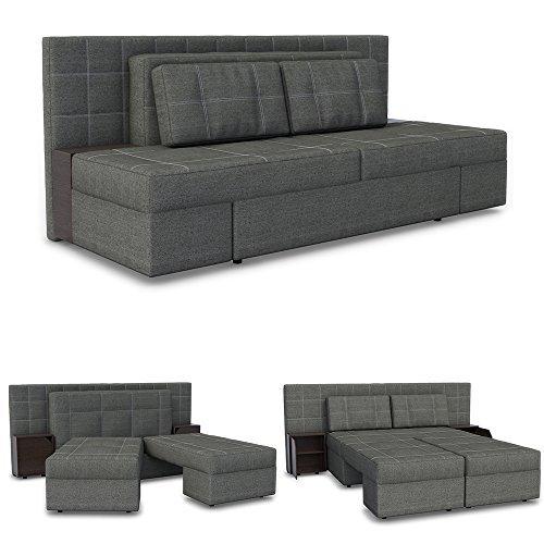 Innovatives Schlafsofa Couch-Maß: 230 x 105 cm / Bett-Maß: 205 x 155 cm in Grau - Sofa mit Schlaffunktion inkl. Nachttische / Bettfunktion Doppelbett Couch Polsterecke