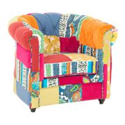Invicta Interior 35017 Chesterfield Sessel Patchwork, bunt