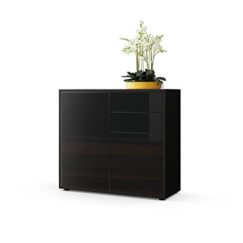 kommode sideboard ben korpus in schwarz matt fronten in schwarz hochglanz retro stuhl. Black Bedroom Furniture Sets. Home Design Ideas