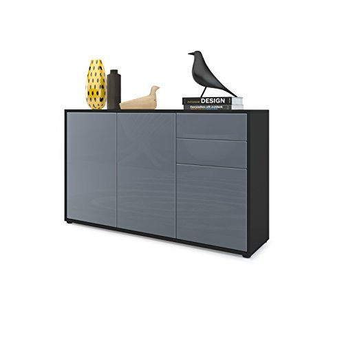 kommode sideboard ben v3 korpus in schwarz matt fronten in grau hochglanz retro stuhl. Black Bedroom Furniture Sets. Home Design Ideas