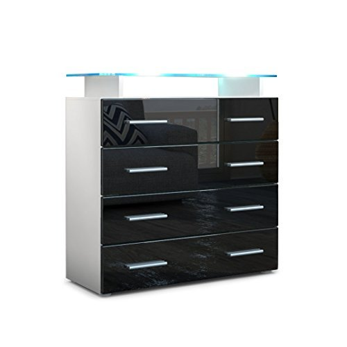 kommode sideboard pavos v2 korpus in wei matt front in schwarz hochglanz retro stuhl. Black Bedroom Furniture Sets. Home Design Ideas