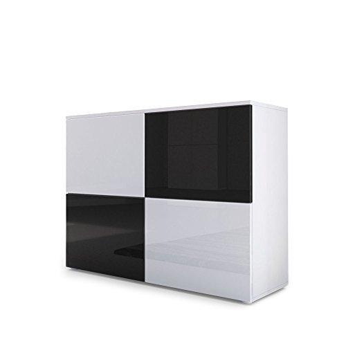 kommode sideboard rova korpus in wei matt t ren in wei hochglanz und schwarz hochglanz. Black Bedroom Furniture Sets. Home Design Ideas